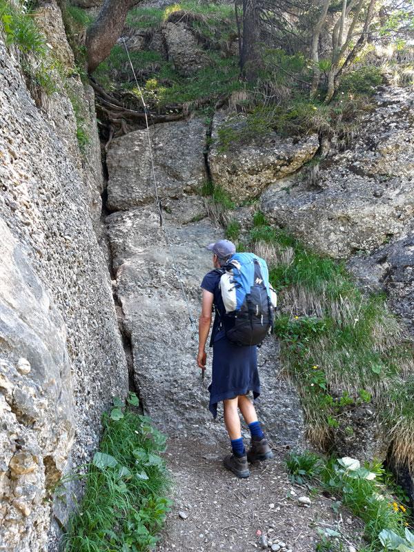 sportlicher Klettersteigaufstieg zum Falken
