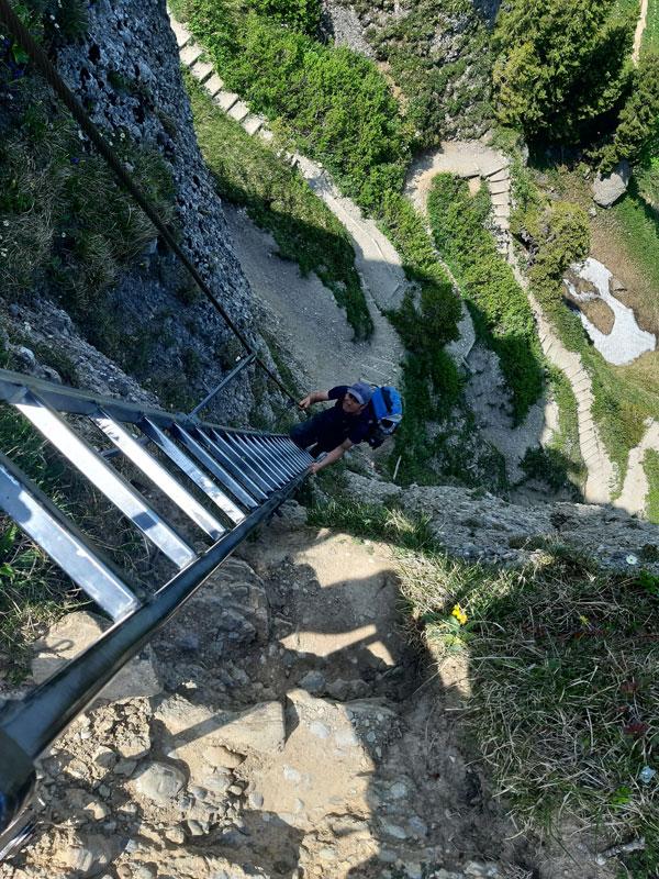 17 Meter lange Leiter am Steineberg. This is the way.