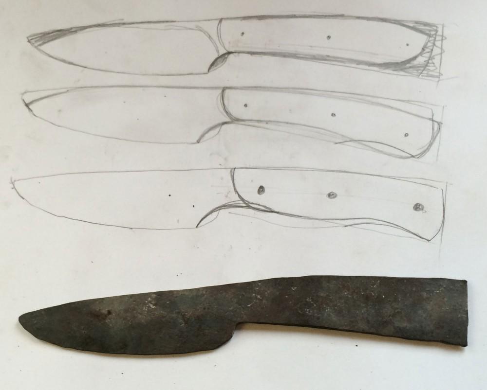 Vorzeichnung der Messerform