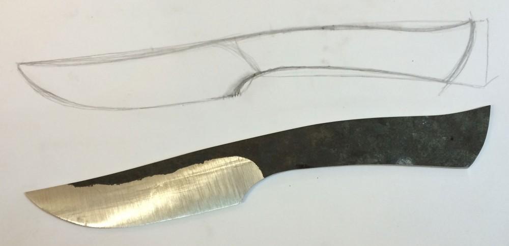 Messer in Plan und in Realität