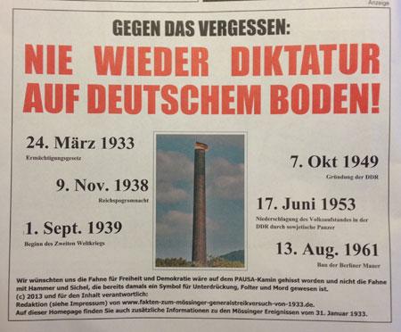 """Anzeige im Mössinger Amtsblatt: """"Nie wieder Diktatur"""""""