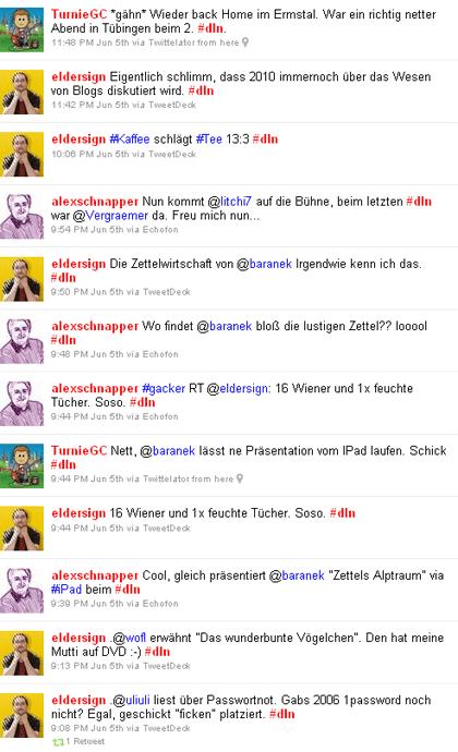Das Letz niest II - die Twitter-Timeline