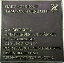 Gedenktafel zum Mössinger Generalstreik