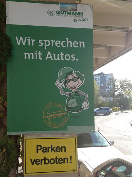 Wir sprechen mit Autos - Parken verboten