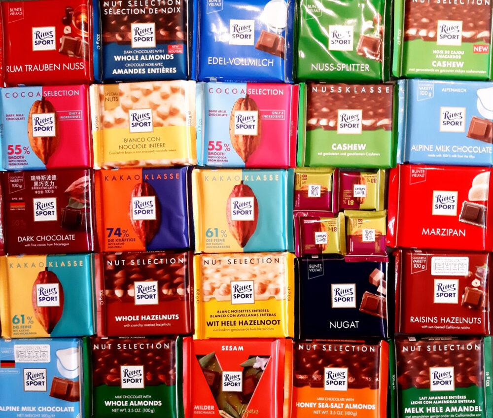 Viele Tafeln Ritter-Schokolade