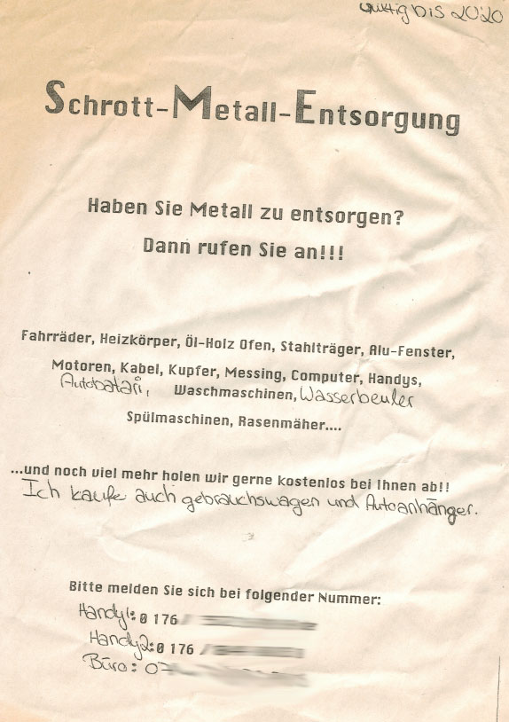 Werbezettel Schrott-Metall-Entsorgung