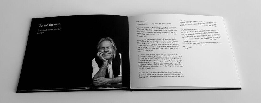 """Büchlein """"Trotz Corona"""" - Seiten mit Gerald Ettwein"""
